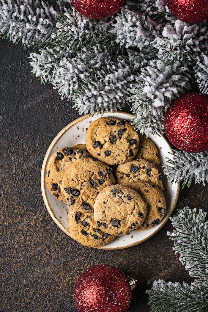 Cookies for Santa near the Christmas tree