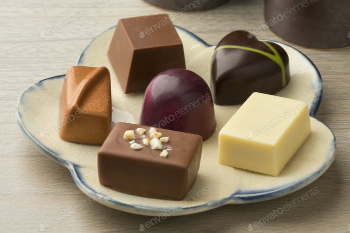 Dish with assorted chocolate bonbons