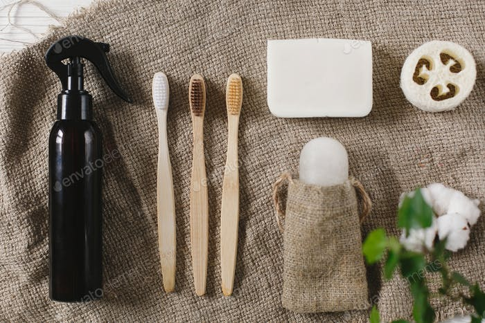 Bathroom essentials, plastic free items