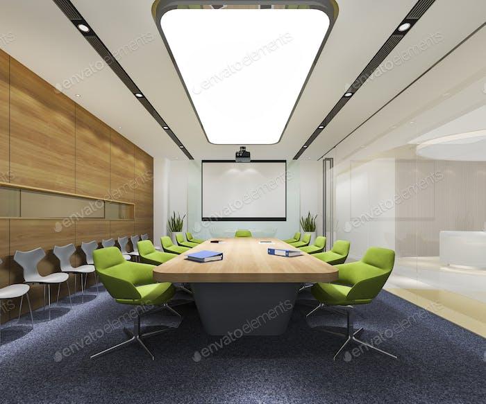 3d рендеринг бизнес-зал на высотном офисном здании с зеленым стулом