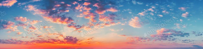 Panorama Sunset Sunrise Sky Background. Natural Bright Dramatic