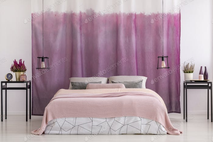 Gradient pink curtains in bedroom