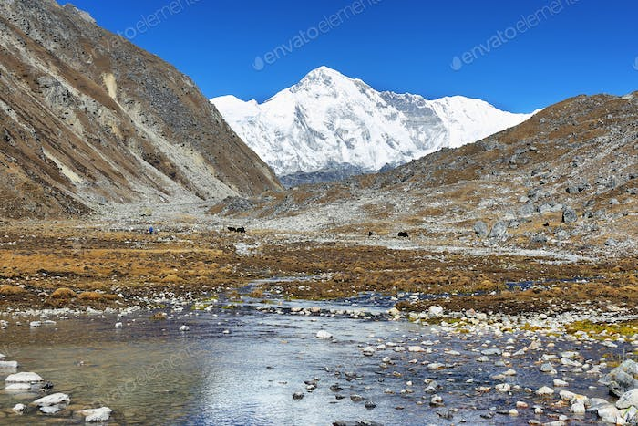 View of mount Cho Oyu from Gokyo, Nepal
