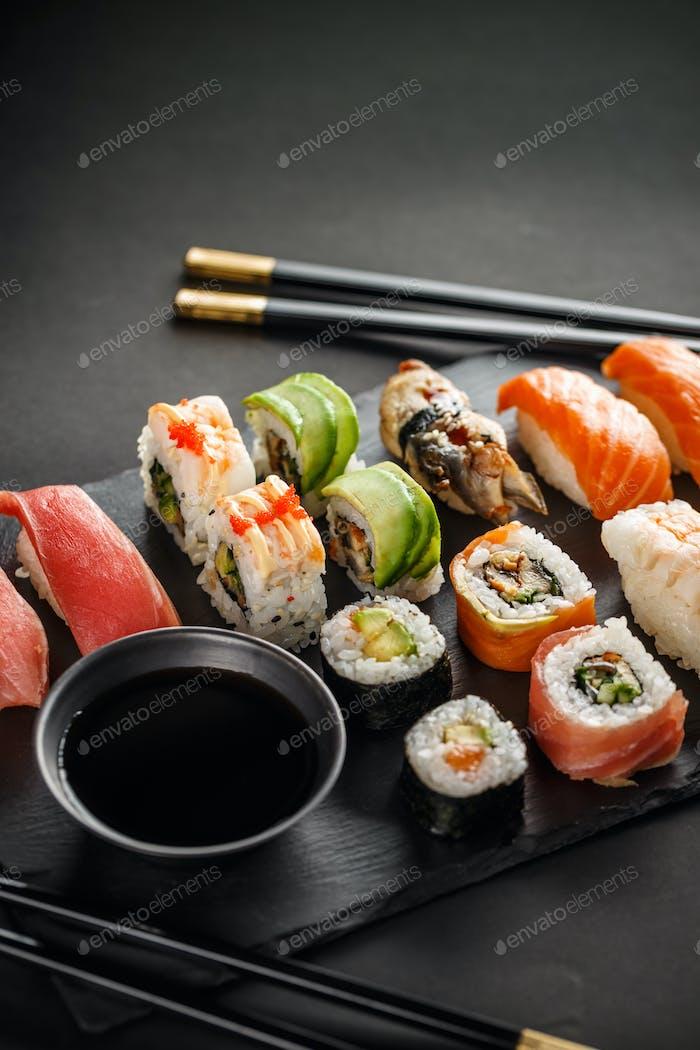 Sushi rolls and shrimp tempura