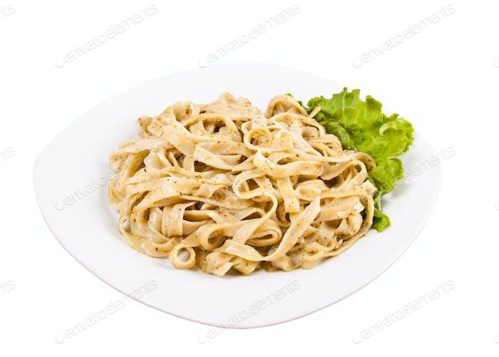 Tagliatelle pasta with pesto