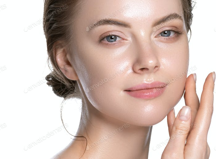 Awesome girl healthy hydration clean skin face beautiful model neck shoulders. Isolated white.
