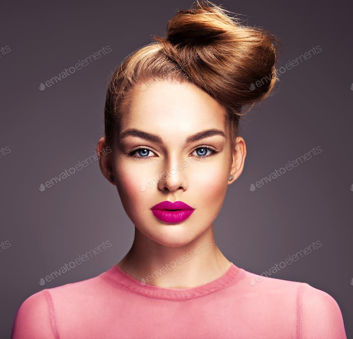 Girl with fashionable and stylish hair and makeup.