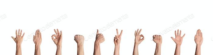 Gebärdensprache. Collage mit männlichen Händen, die verschiedene Gesten zeigen, isoliert. Banner Design