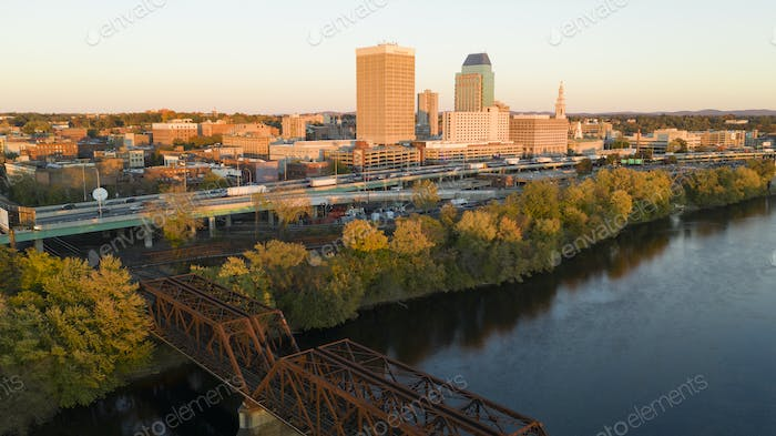 Springfield Massachusetts Late Afternon Rush Hour Traffic Aerial