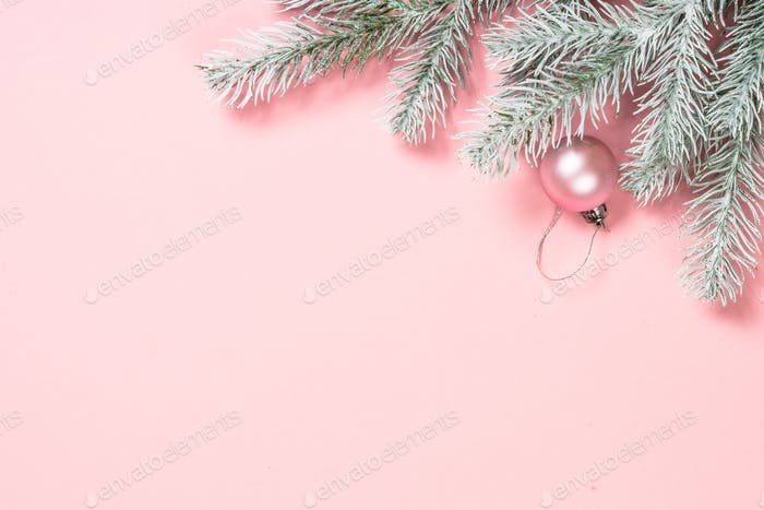Christmas pink flat lay background
