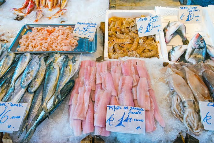 Fish and seafood for sale