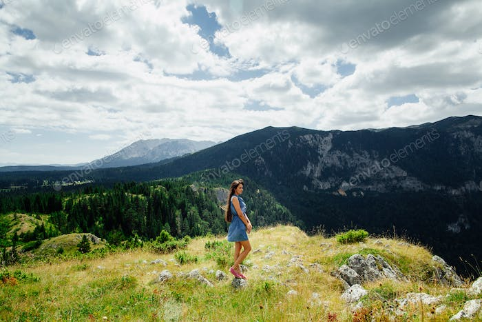 woman travel mountains with beautiful view