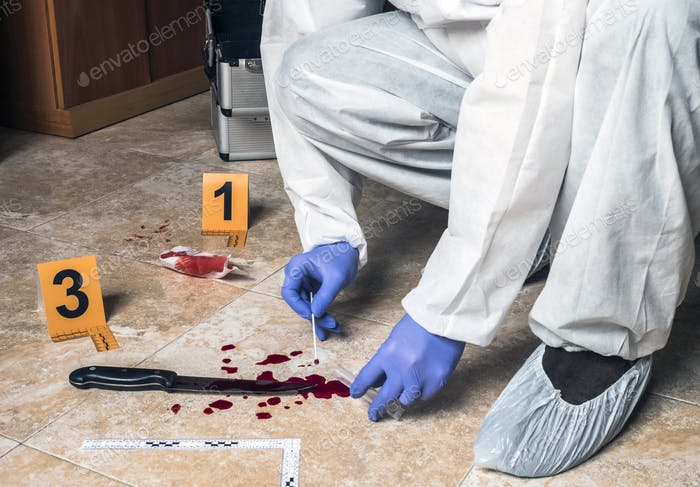 Expert Police takes blood sample from a blood knife at the scene of a crime, conceptual image