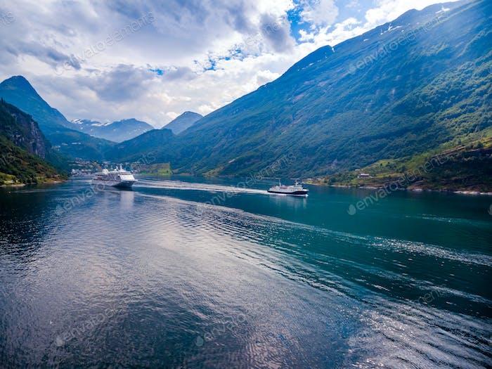 Geiranger Fjord, Norwegen Luftaufnahmen.