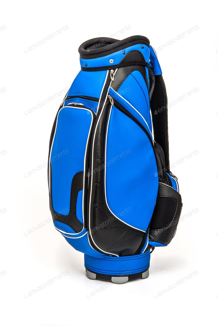 Blue golf bag on white background
