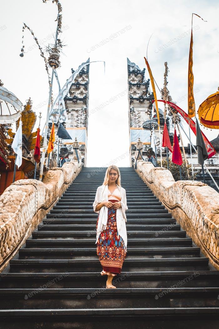Woman at Pura Lempuyang temple in Bali