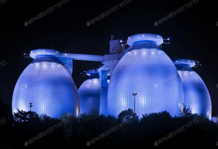 Blue Sewage Plant At Night