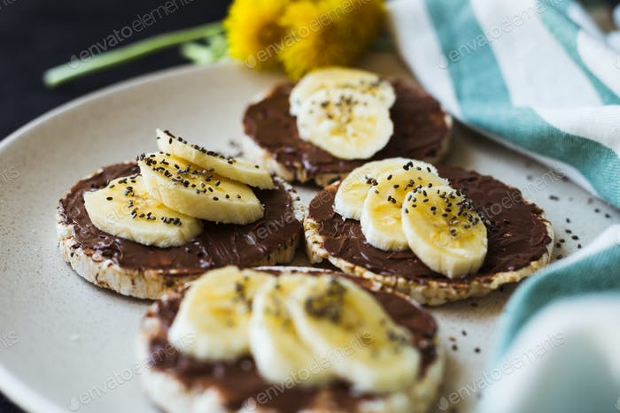Reiskuchen Frühstück Schokolade Banane