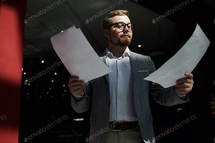 Business speaker preparing for public event