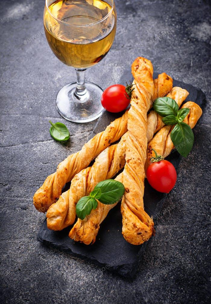 Italian antipasto  grissini with tomato