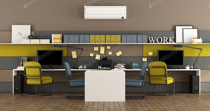 Blue and yellow modern office