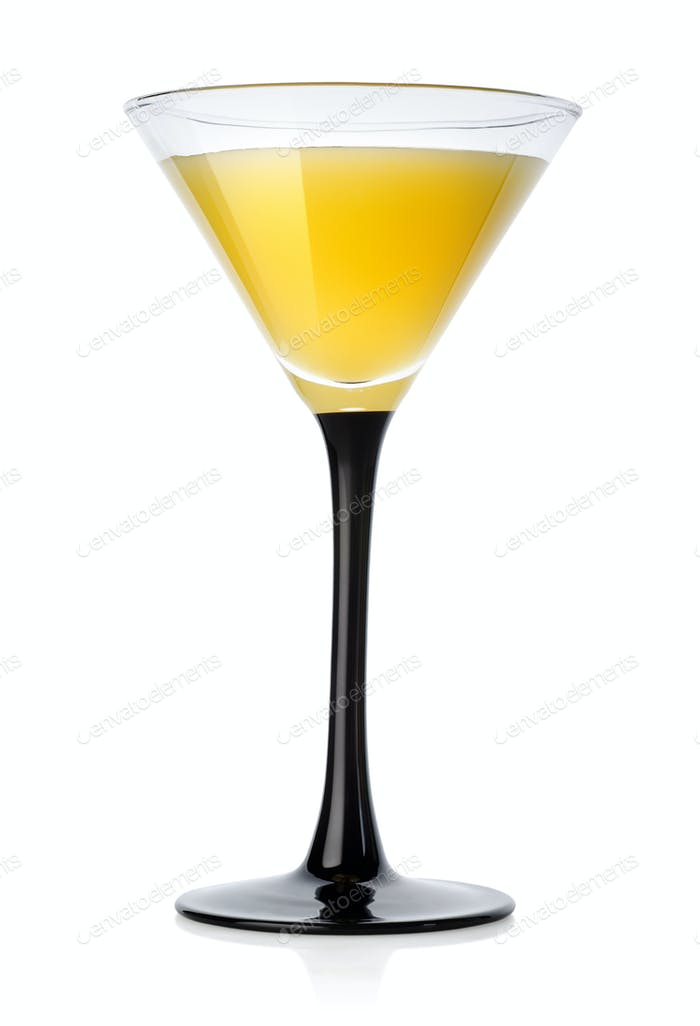 Yellow cocktail in a glass
