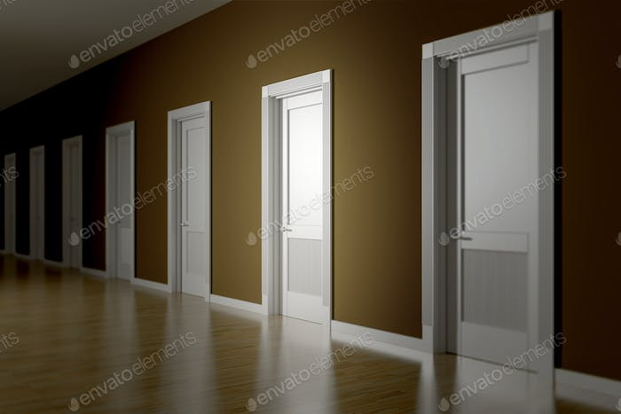 a room with seven doors to choose
