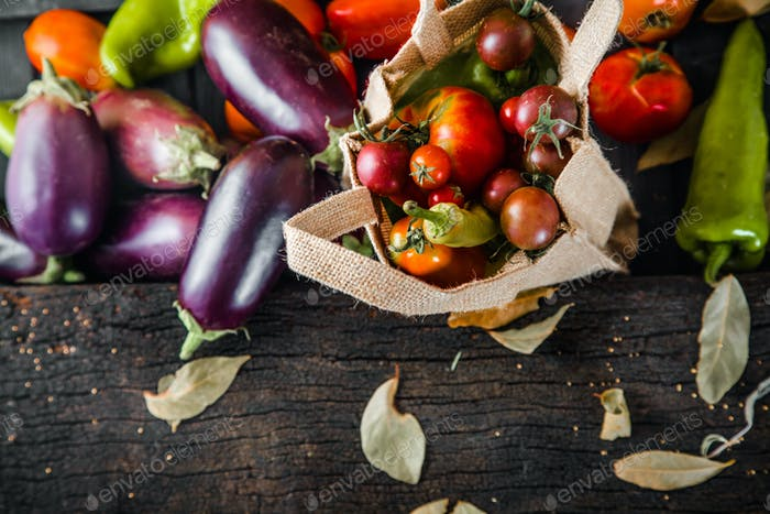 Fresh Organic Vegetables on Wooden Table