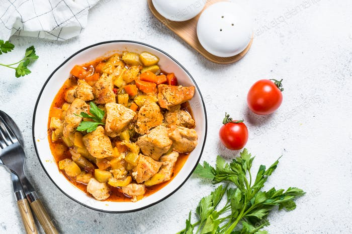 Chicken stew with vegetables, top view