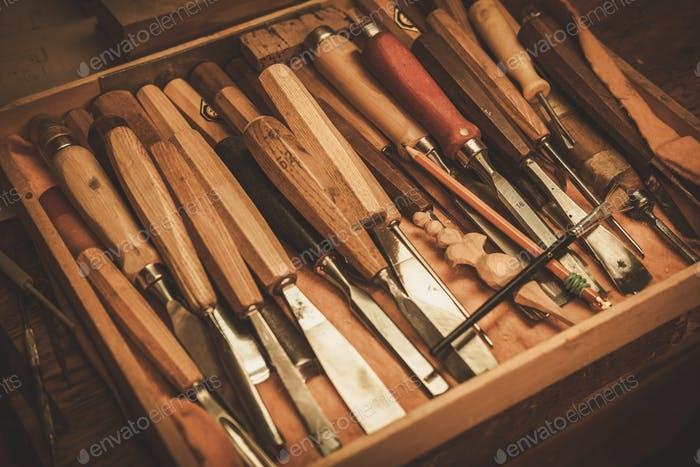 Close-up of the carpenter tools in restorer workshop