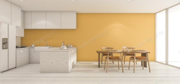 3d rendering wide yellow wall kitchen with dining table in clean condition