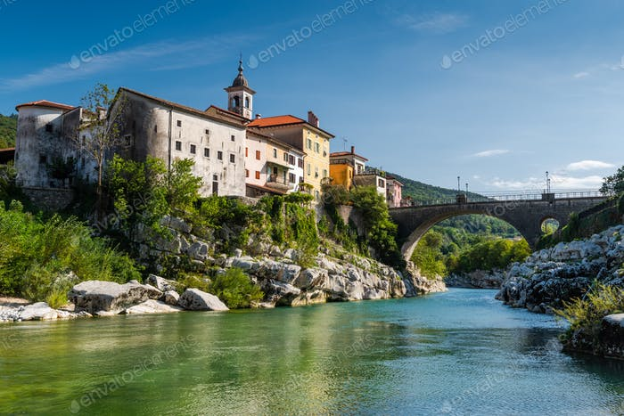 Colorful Town Kanal Ob Soci in Slovenia. Small Village at The So