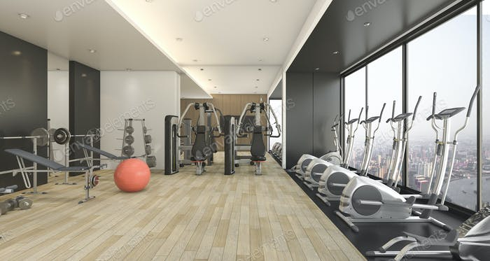 3d rendering modern wood and black decor gym and fitness with nice view