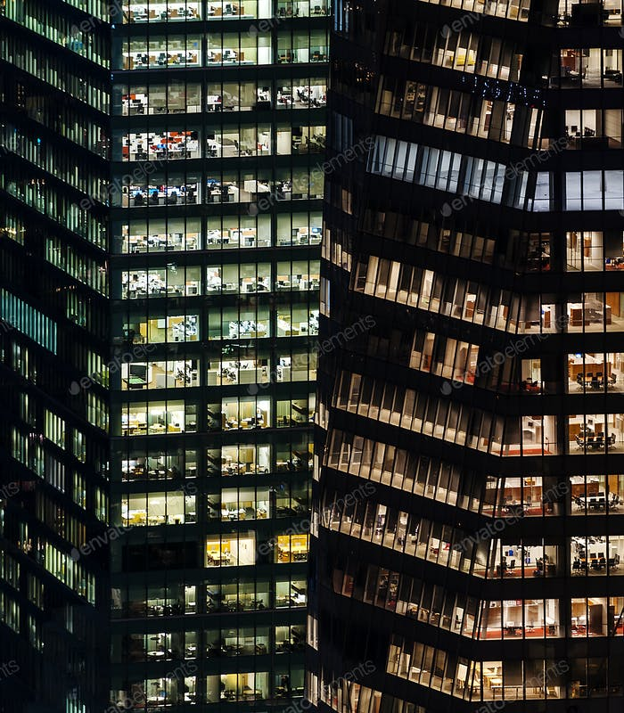 Illuminated highrise buildings at night