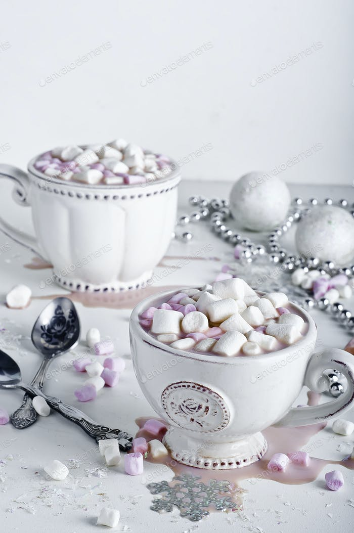 Christmas cocoa with marshmallows