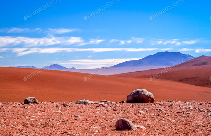 Dry and desolate landscape of Altiplano