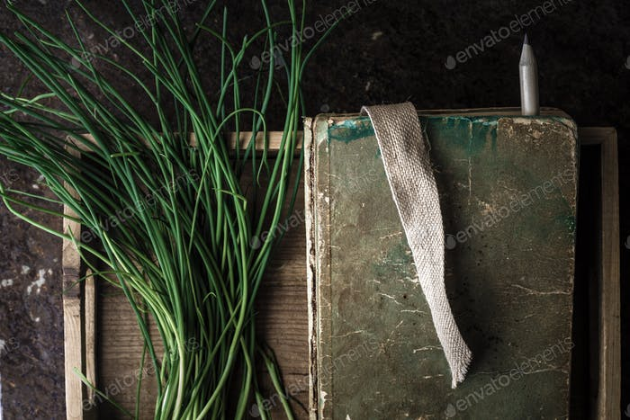 Green onion stalks and the book in a wooden box