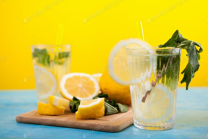 Fresh homemade lemonade in two glasses