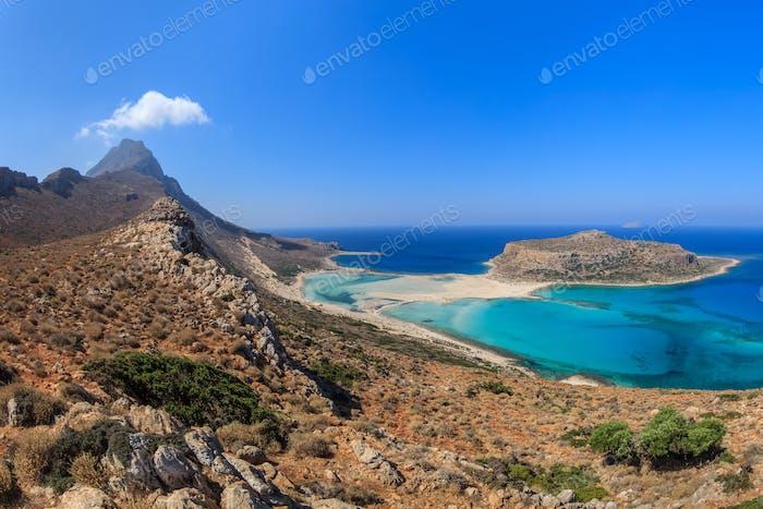 Balos Lagoon and Gramvousa Island in Hania, Crete.