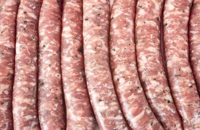 pork sausages in studio