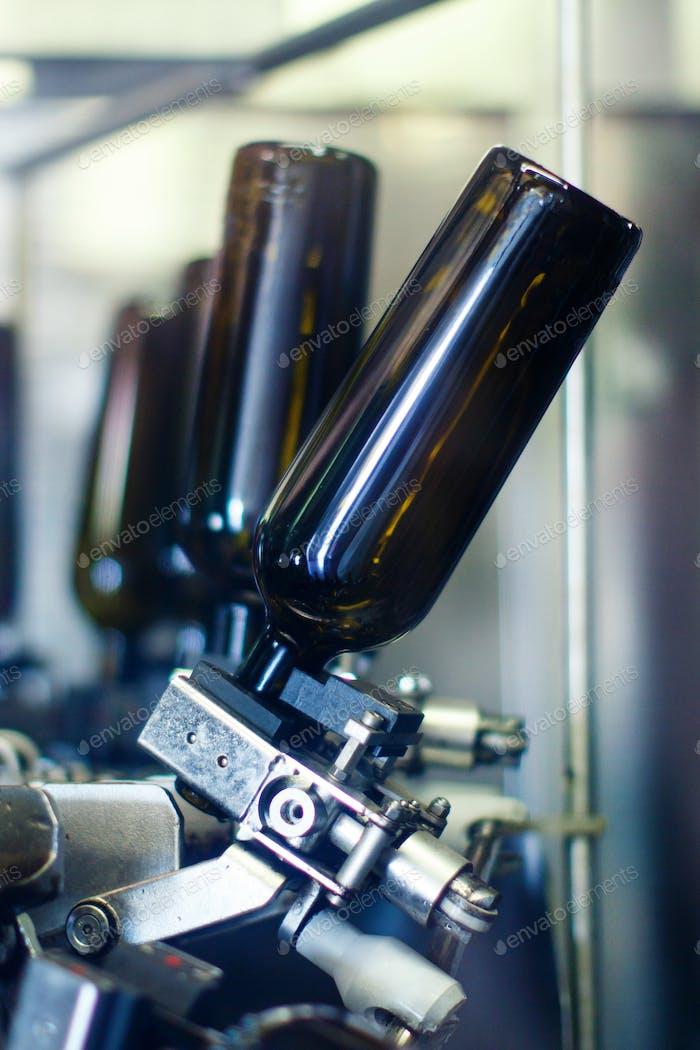 Glass bottles in bottling machine