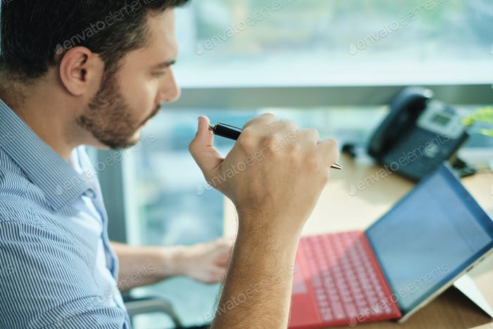 Adult Business Man Clicking Pen Under Stress Pressure In Office
