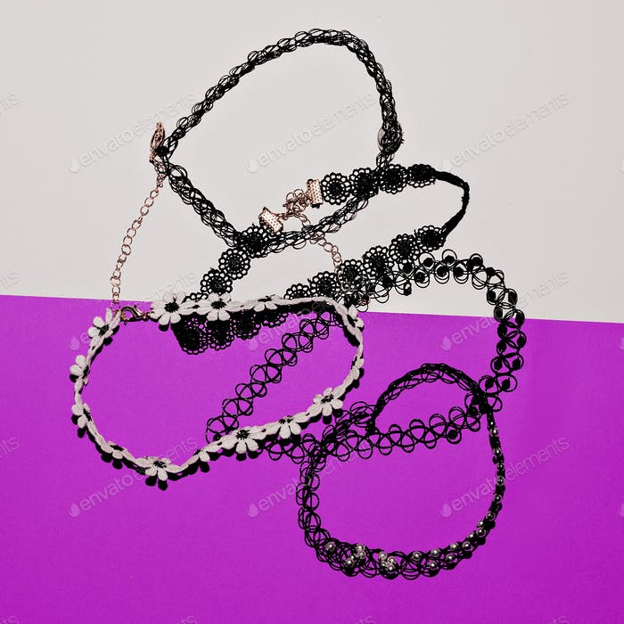 set of stylish jewelry. Choker. Top view