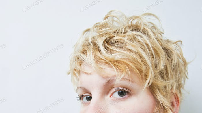 Close-up Blond Girl Head - Curly Hair