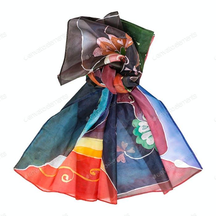 geknotet handbemalte Batik-Seide Kopftuch isoliert