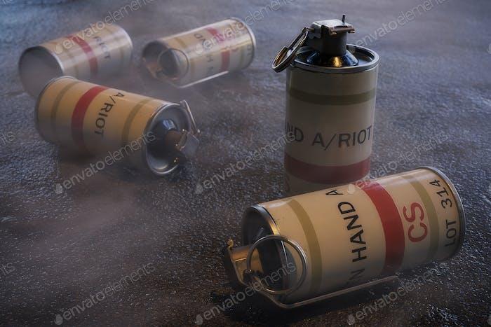 Tear Gas Grenades - 3D Illustration
