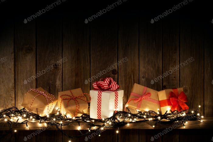 Christmas lights and gift boxes