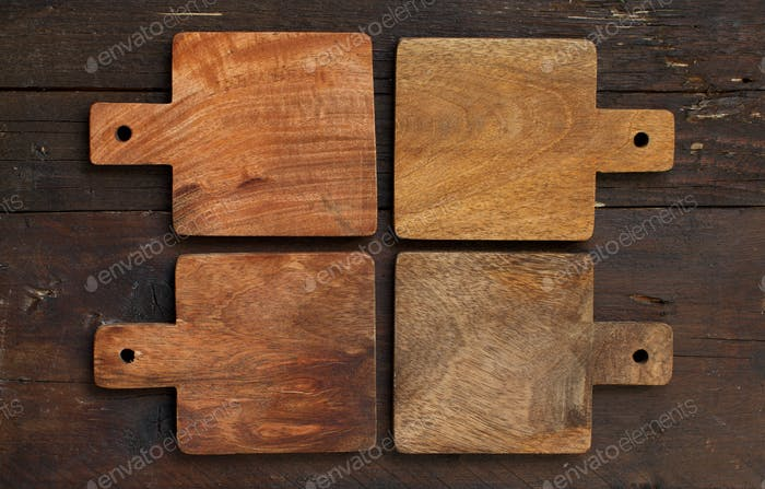 Wooden table and old cutting boards