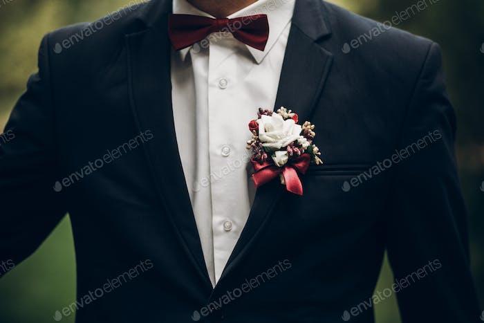 groom or groomsmen closeup