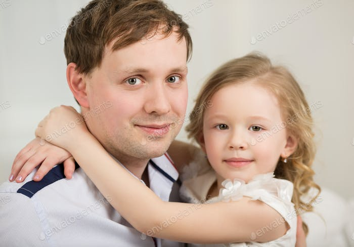 Happy father with his little princess